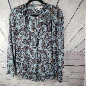 LOFT   blue button down shirt size XS